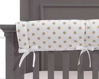 Gold Polka Dots Crib Rail Cover | Polka Dot Baby Bedding | Gold Nursery | Rail Teething Guard
