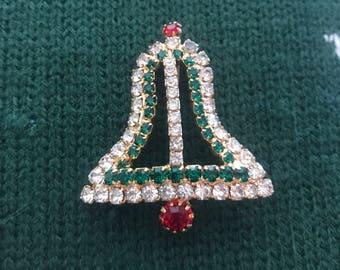 Pretty Vintage Rhinestone Bell Pin Brooch Christmas Pin