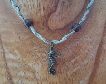 Braided Hemp Choker with Seahorse Charm