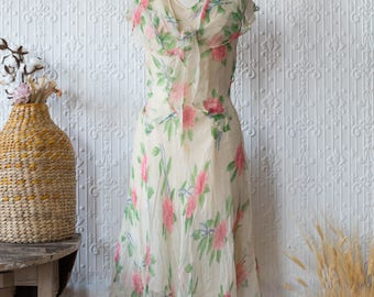 1930s Neon Floating Floral Gauzy Silk Dress and Capelet