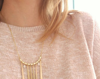 Gold necklace and pendants long drops
