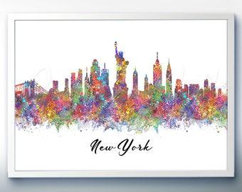 New York Skyline Watercolor Art Poster Print - Wall Decor - Watercolor Painting - Illustration - Home Decor - Office Decor - Kitchen Decor