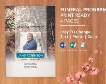 Funeral Program Template, Obituary Program Template, Memorial Program | Editable With Microsoft Word, Mac Page & Publisher- EF101