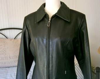 90's Guess Black Leather Jacket
