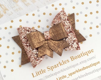 Rose gold hair bow, rose gold glitter bow,baby bow,girls hsir accessories