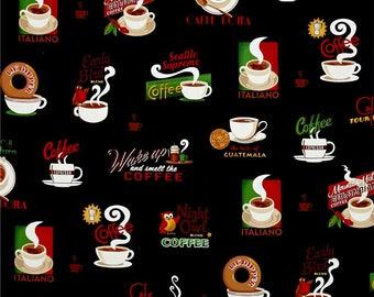 Robert Kaufman Metro Cafe Black Coffee Varieties Novelty Fabric on Black Cotton Novelty Fabric Robert Kaufman Cafe Fabric