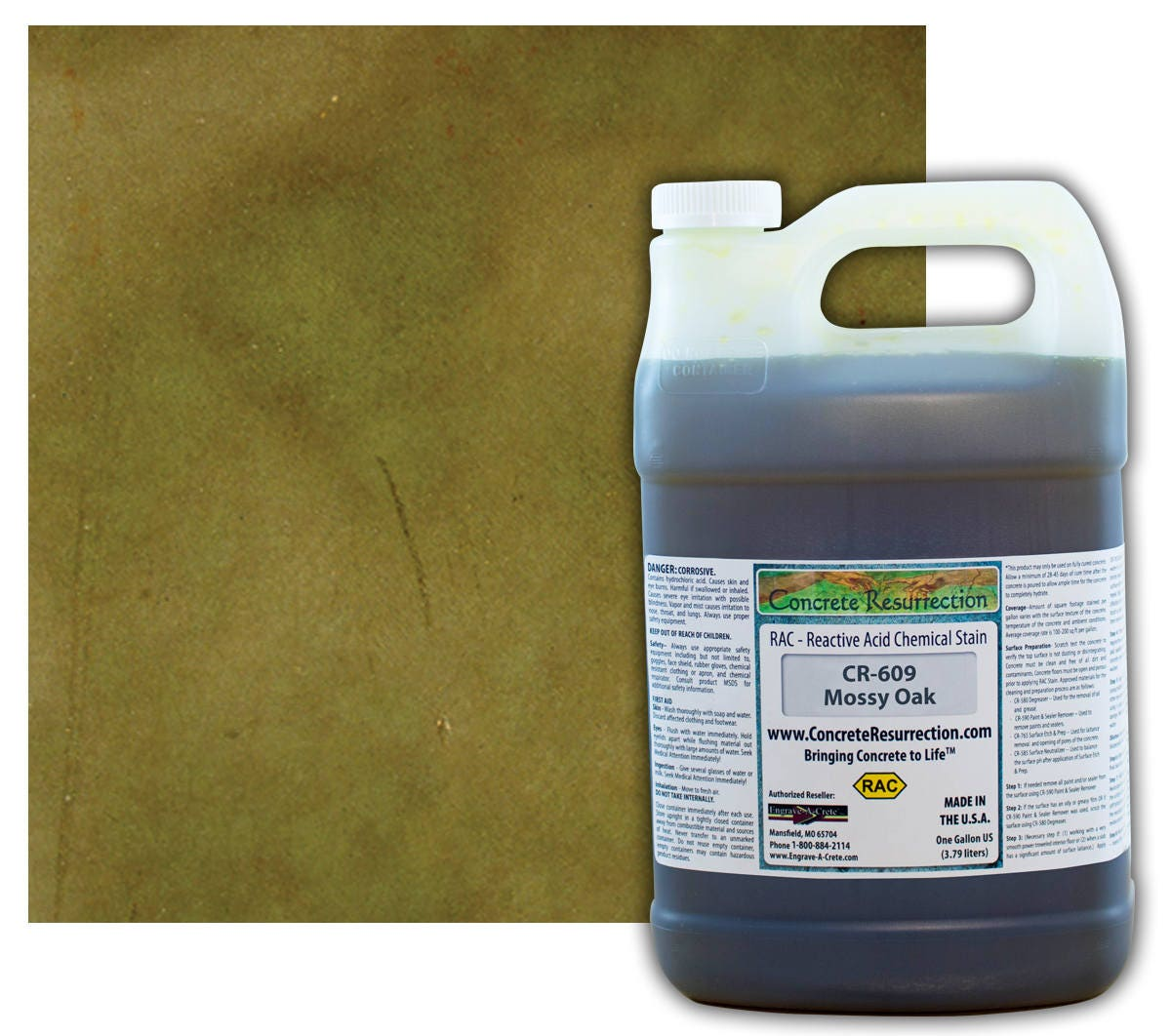 Concrete Reactive Acid Stain 1 Gallon Bottle Mossy Oak