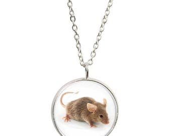 Mouse Design Pendant and Silver Plated Necklace