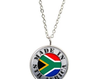 Made In South Africa Pendant and Silver Plated Necklace