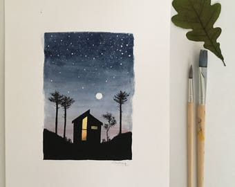 Original art | watercolour | stars and forest at night A4 poster | cabin in the woods | navy blue black