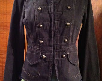 Vintage DKNY dark denim cropped military style jacket size medium 8-10
