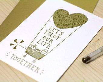 Golden Valentine's card, pilots in love