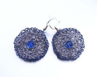 Blue metal wire hook earrings