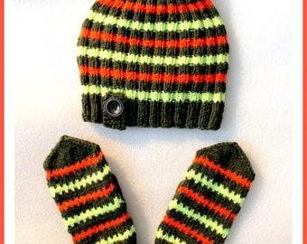 Clothing sets knitting Cap & Mittens