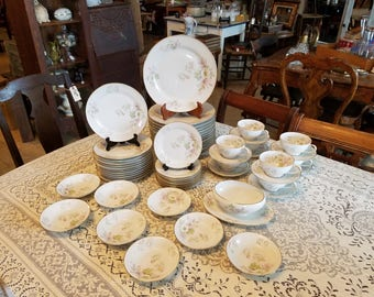 "Antique ""Apple Blossom"" 51 pc Set of Bavarian Porcelain China by Tirschenreuth"