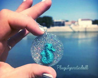 Seahorse necklace unique holographic