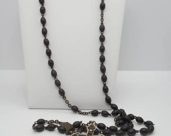 Antique Victorian Mourning Rosary Bead Set Circa 1900