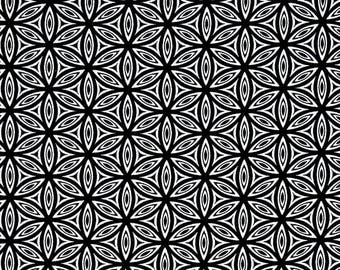 Black and White Flower of Life Cotton fabric