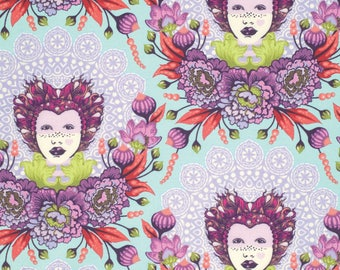 Tula Pink Elizabeth Selfie in Plum, tart or sky Cotton Fabric