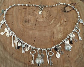 Necklace with keys and hanging parts