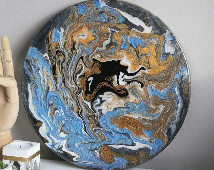 Abstract Acrylic Paint and Resin Art | Resin Design | Metallic Painting | Display | Fluid Art