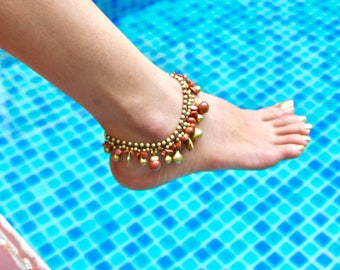 Jingling Woven Anklet,Sand Stone Woven Anklet, Funky Beaded Anklet, Animal Charms Anklet, Bohemian Anklet, Gypsy Anklet, Feet Chain, (A57)