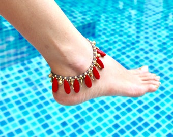 Woven Anklet, Coral Drops Anklet, Funky Red Anklet, Gift Anklet, Bohemian Anklet, Gypsy Anklet, Feet Adornment, Summer Jewelry (A58)