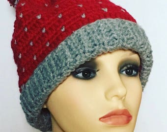 Handcrafted crochet red and grey bobble hat pompom.Cosy Autumn/winter/spring use