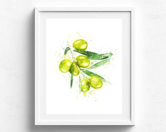 Watercolor Olive Art, Watercolor Olive Print, Watercolor Fruit Poster, Fruit Print, Watercolor Kitchen Art, Kitchen Decor, Kitchen Print