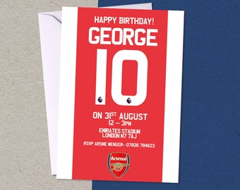 12 Arsenal Football Personalised Birthday Party A6 Invitations with/without envelopes