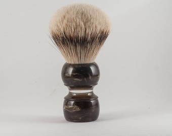 Shaving Brush - Black Anvil - Bronze Violin. High Mountain White