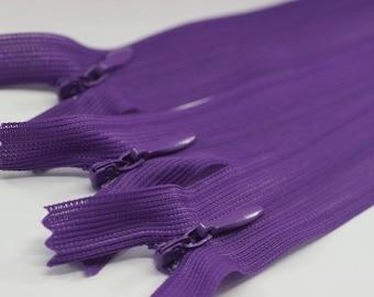 10 Pcs Purple Skirt Zippers, 18-60cm (7-24inche) zipper, dress zipper, zipper for skirt, zipper, hidden zipper, zippers, pillow cases zipper