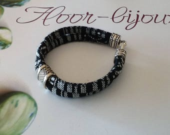 Bracelet cotton cord woven ethnic black and white for women