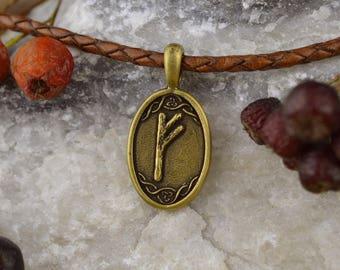 Fehu Rune pendant. Scandinavian Witchcraft Amulet. Viking Wicca Nordic Nekclace. Futhark Talisman. Runic Necklace. Norse Gothic Talisman