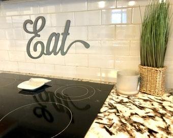 Rustic Metal Script Word- Eat - Kitchen Dining room decor