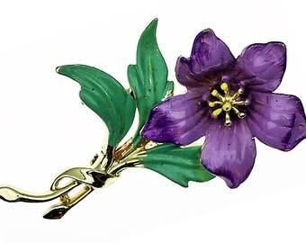 Vintage Enamel Flower Brooch, Flower Pin, Purple Flower, Mid Century, Enamel Flower, Enamel Pin, Enamel Flower Pin