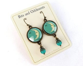 La Luna Loteria Crescent Moon  Earrings