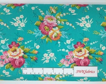 Floral Fabric, Turquoise and Pink Fabric,  Fabric by the yard, Fat Quarter, Quilting Fabric, Apparel Fabric, 100% Cotton Fabric, F-13