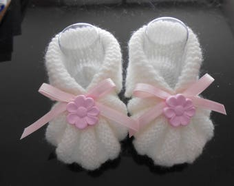 booties wool baby girl 0-3 months