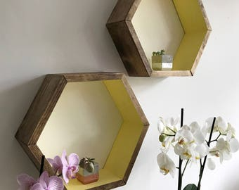 Large hexagon shelf, hexagonal cubbies, hexagon cubbie, wall shelf, yellow shelf, honeycomb shelf, brown shelf, floating shelf