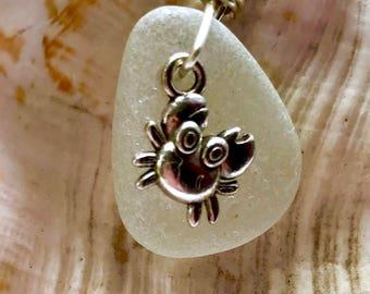 Crab Sea Glass Necklace, Crab Necklace, Sea Glass Necklace, Beach Necklace, Ocean Necklace, Beach Glass