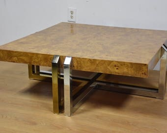 Burl, Brass, Chrome Hollywood Regency Coffee Table