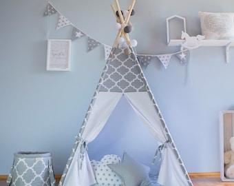 Teepee, grey morocco, tipi, children's teepee, playtent, zelt, wigwam, tent, kids teepee,high quality teepee