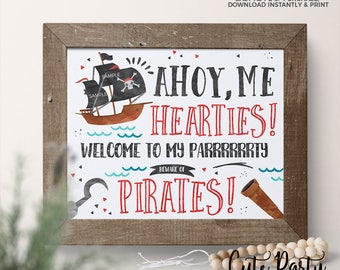 INSTANT DOWNLOAD - Pirate Birthday Welcome sign Pirate birthday decorations - Pirate party Door sign Pirate party beware of pirates pdf