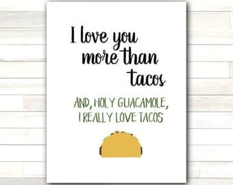 Greeting Card I Love You More Than Tacos Valentine Humor Funny Love Romantic Printable Instant Download Last Minute DIY