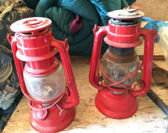 Wagon Wheel Japanese Red Kerosene Lanterns (Set of 2)