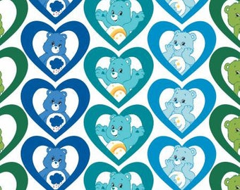 Turquoise Care Bears Cool Hearts Cotton fabric from Camelot Fabrics 44010108-1 blue America Greetings fabric by yard metre quilting licensed