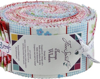 Tanya Whelan Rambling Rose Design Roll - jelly roll 2.5inch 44inch strips quilting cotton freespirit precut roses floral cherries pink blue