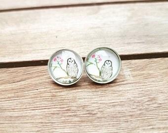 Sterling Silver 12 mm cute owl ear studs, stud earrings