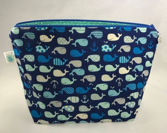 Small Whale Knitting Crochet Craft Zippered Project Bag